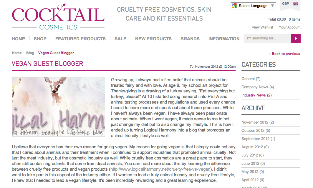 Logical Harmony featured on Cocktail Cosmetics for World Vegan Month