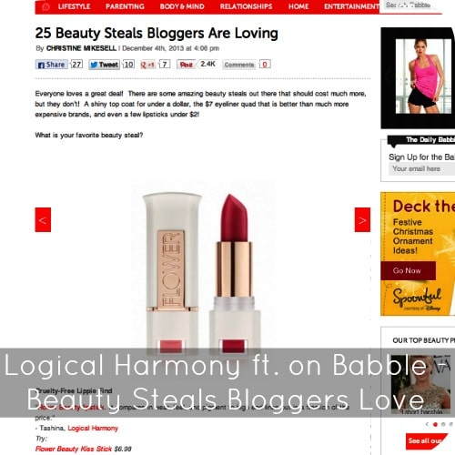 Logical Harmony featured on Babble - 25 Beauty Steals Bloggers Are Loving