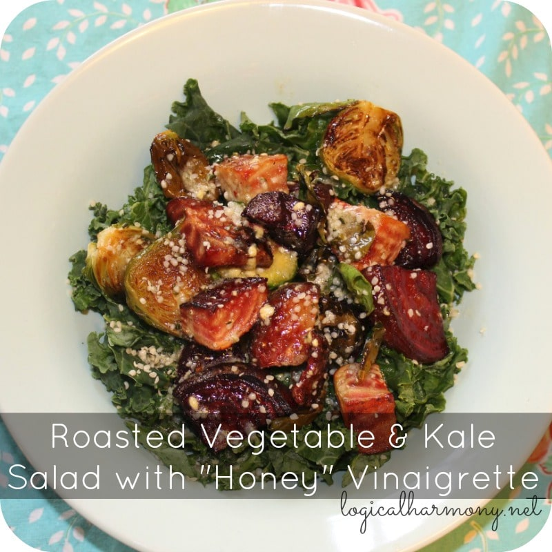 "Roasted Vegetable & Kale Salad with ""Honey"" Vinaigrette"