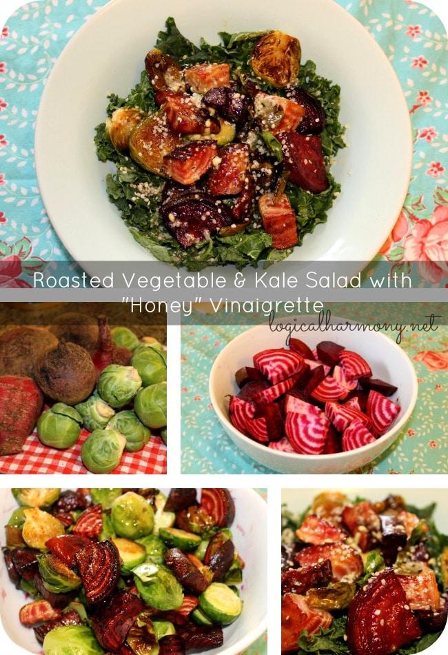 "Roasted Vegetable & Kale Salad with ""Honey"" Vinaigrette"