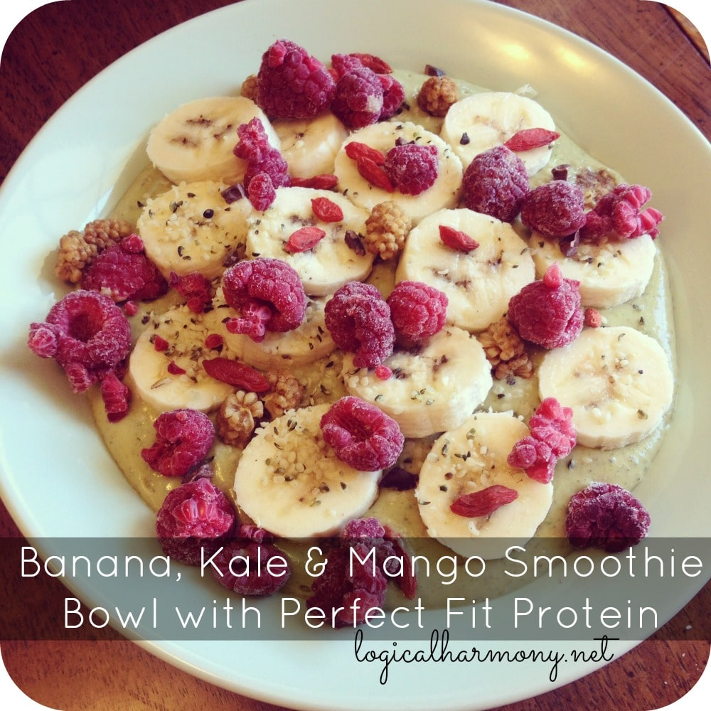 Banana, Kale & Mango Smoothie Bowl with Perfect Fit Protein