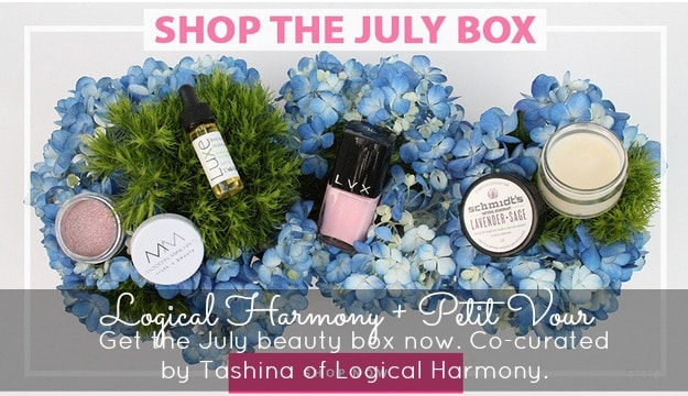 The July Petit Vour beauty box, co-curated by Tashina Combs of Logical Harmony, is now available!