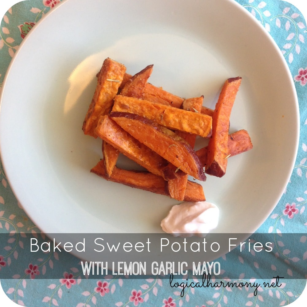 Baked Sweet Potato Fries with Lemon Garlic Mayo