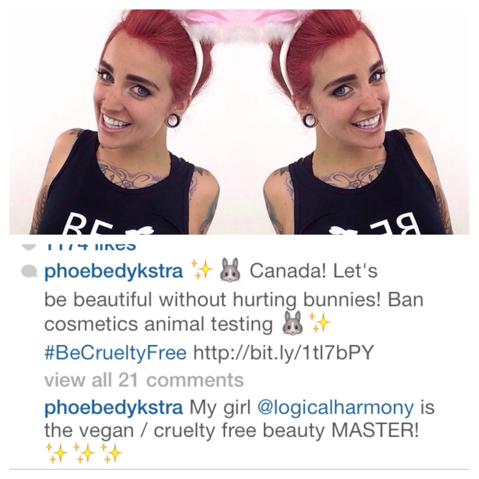 Phoebe Dykstra supports the #BeCrueltyFree Campaign!