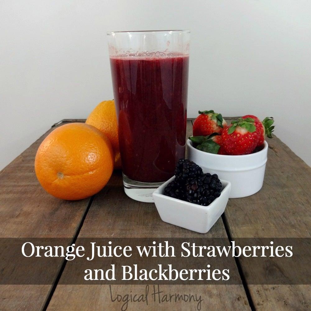 Orange Juice with Strawberries and Blackberries