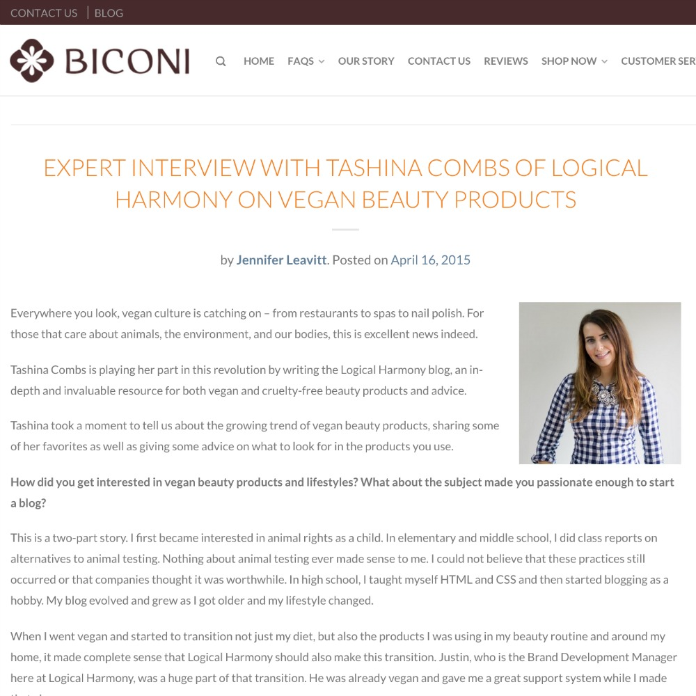 Interview with Biconi on Vegan Beauty Products