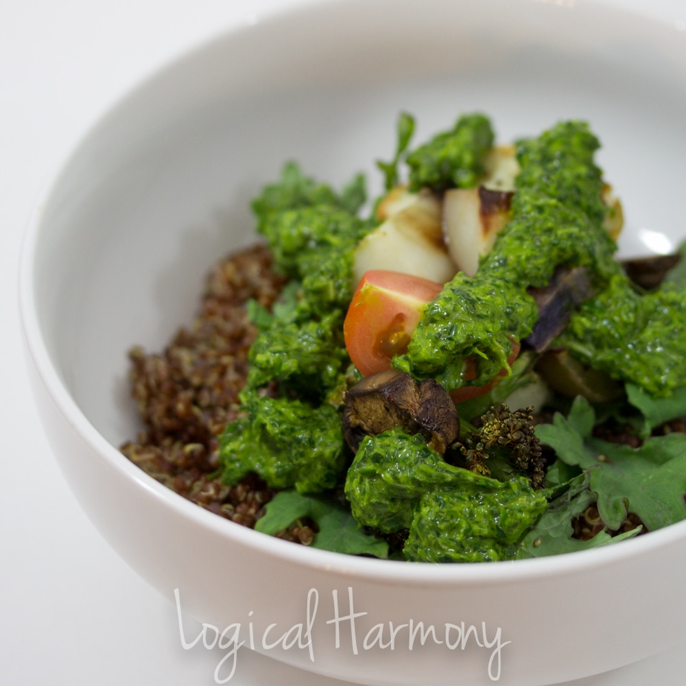 Quinoa with Roasted Vegetables and Chimichurri SauceQuinoa with Roasted Vegetables and Chimichurri Sauce