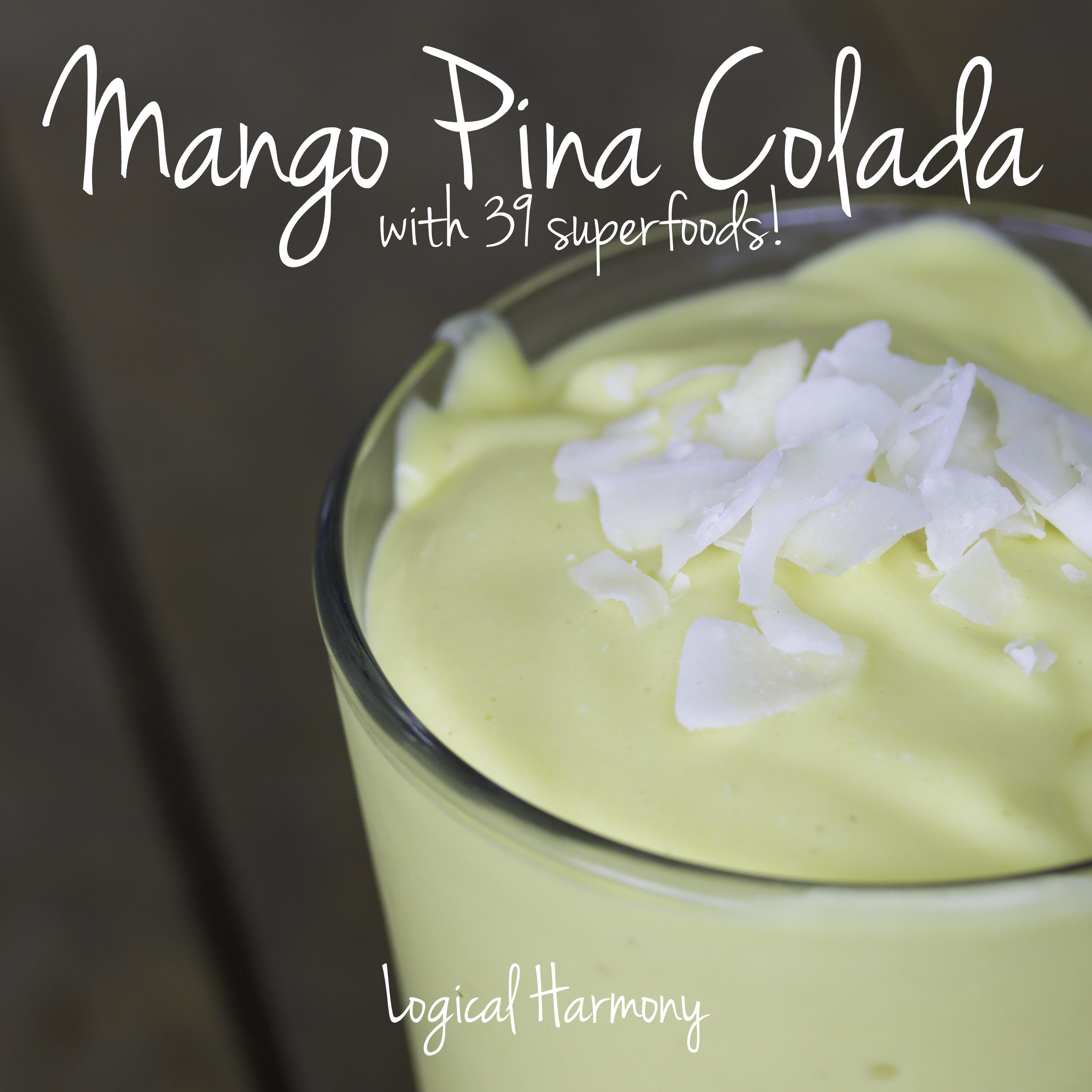 Vegan Mango Piña Colada Smoothie (with 39 Superfoods!)