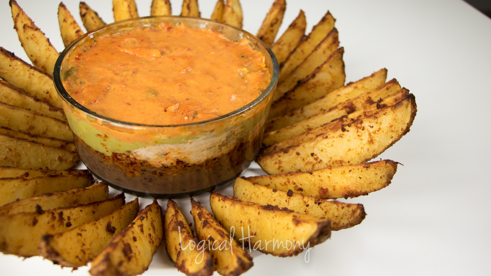 Layered Nacheez Vegan Nacho Dip with Seasoned Potato Wedges