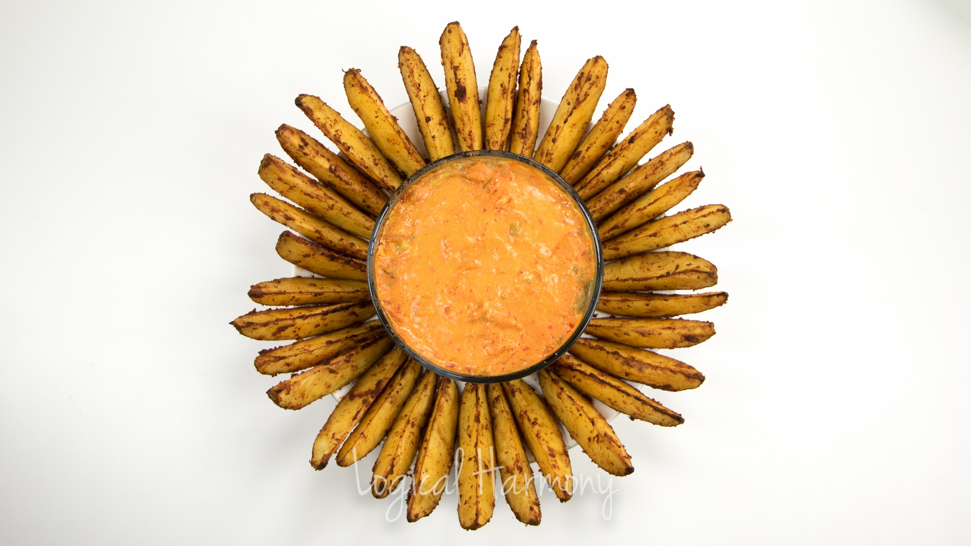 Layered Nacheez Vegan Nacho Dip with Seasoned Potato Wedges