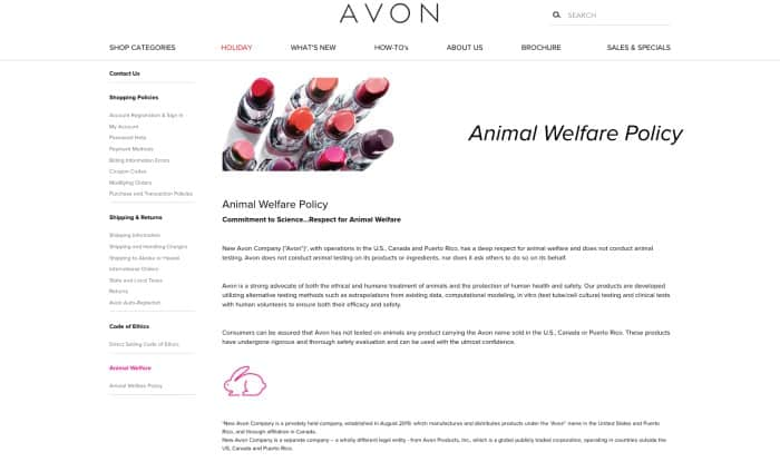 New Avon Animal Testing Policy