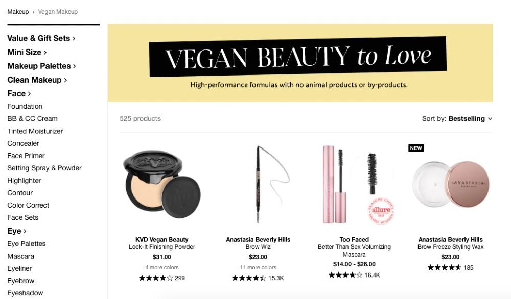 Sephora Vegan Product Filter